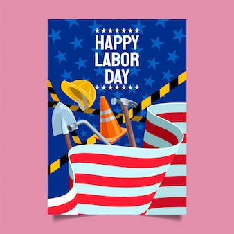 Flat labor day vertical poster template