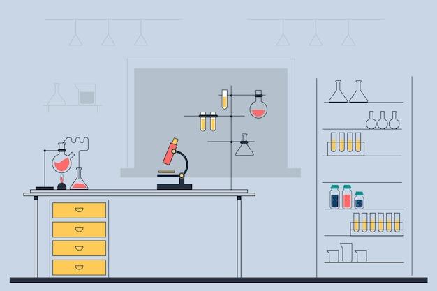 Sala laboratorio piatta illustrata