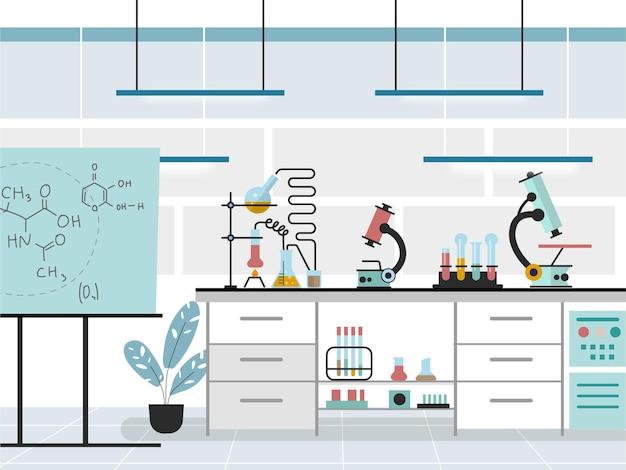フラットな実験室のイラスト