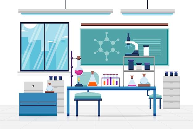 Flat laboratory room illustration