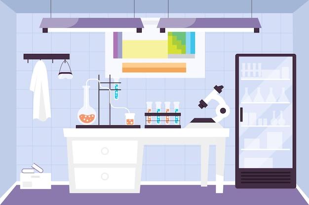 Illustrazione della stanza del laboratorio piatto
