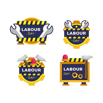 Flat labour day badge collection