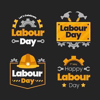 Плоская коллекция значков дня труда Бесплатные векторы