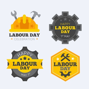 Flat labour day badge pack