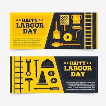 Set di banner piatto festa del lavoro