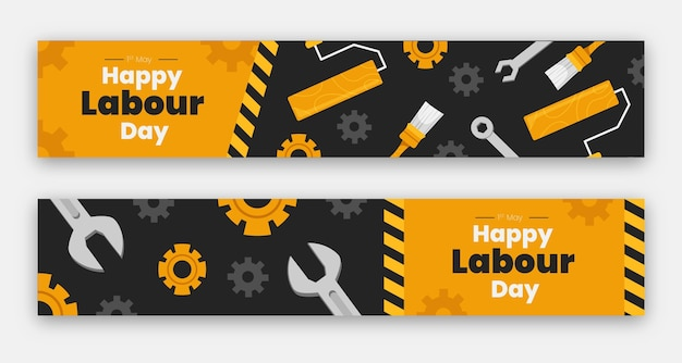 Flat labour day banners set