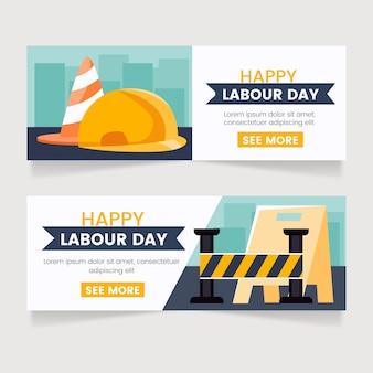 Набор плоских баннеров дня труда