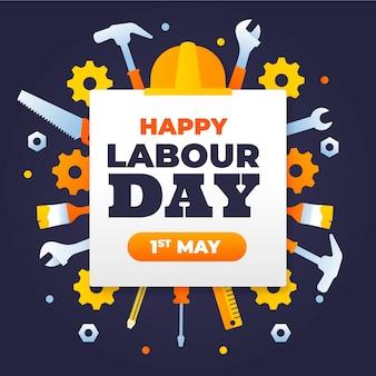 Flat labour day concept