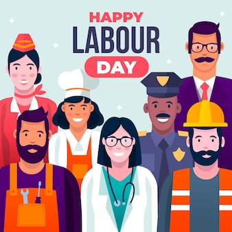 Flat labour day concept