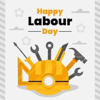 Flat labour day illustration