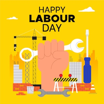 フラット労働者の日のイラスト