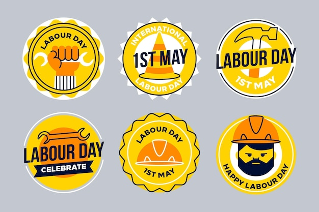 Flat labour day label collection