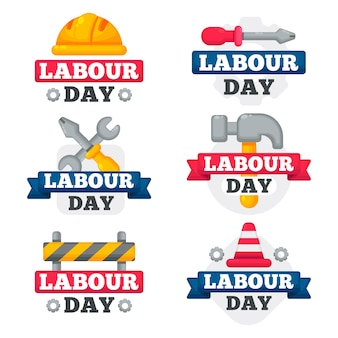 Flat labour day label pack