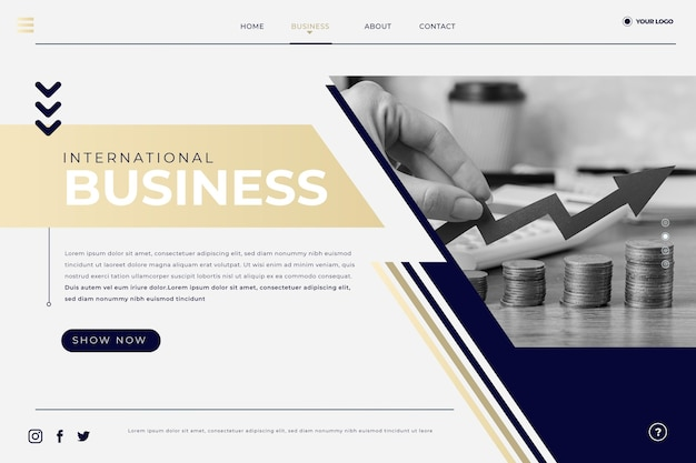 Flat landing page about business