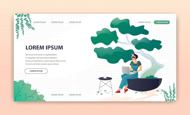 Flat landing page advertising modern greenhouses
