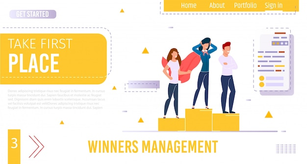 Flat landing page giving idea for achieve success