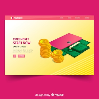 Flat landing page money with wallet