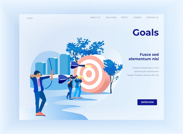 Flat landing page motivating for goal achievement