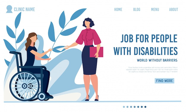 Flat landing page offer job for disabled people