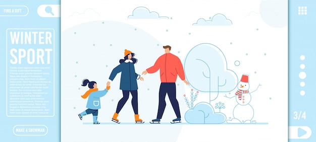 Flat landing page offer winter sport for family