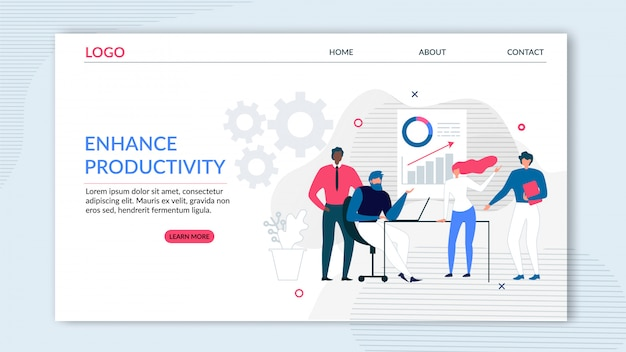 Flat landing page offering enhance productivity