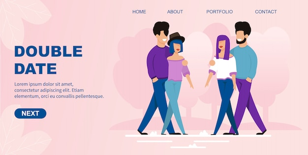 Flat landing page offers double date organization