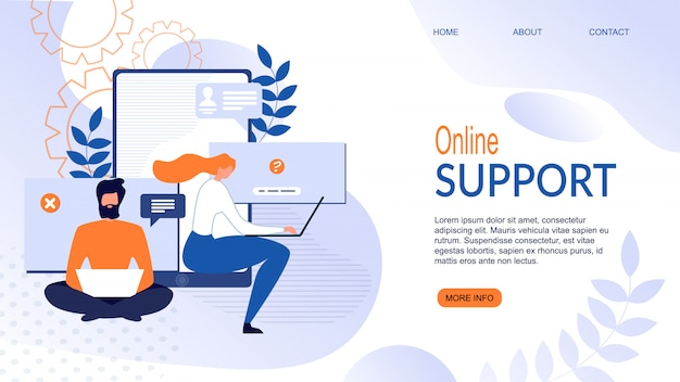 Flat landing page for online support service