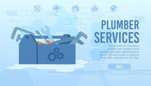 Flat landing page for order plumber home service