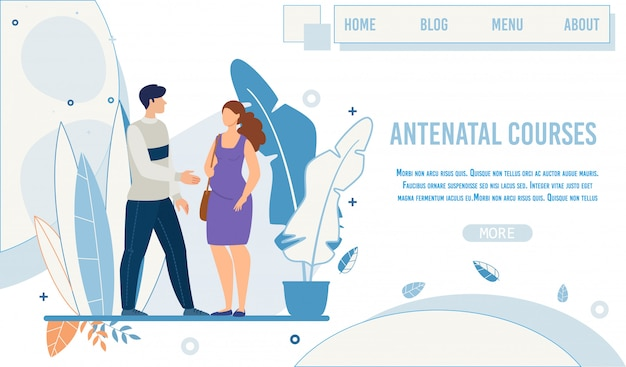 Flat landing page promoting antenatal courses