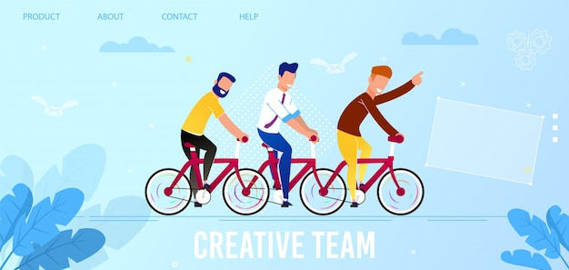 Flat landing page promoting creative team service