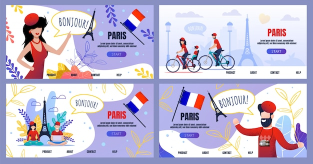 Flat landing page set advertising voyage to paris