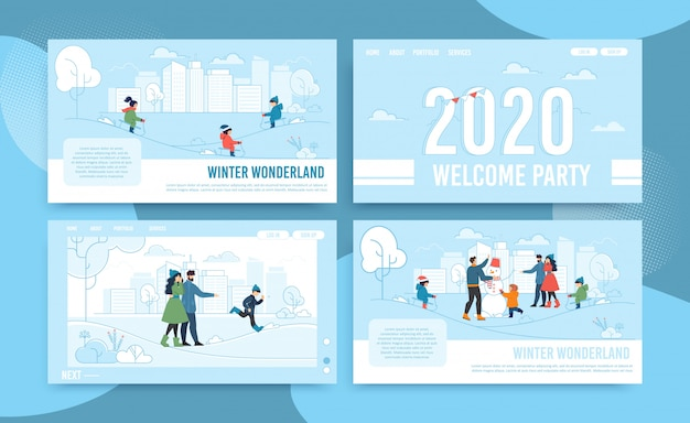 Flat landing page set offering winter fun and joy