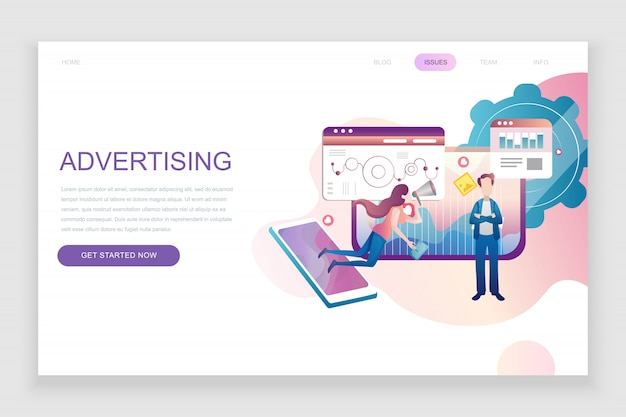 Flat landing page template of advertising and promotion