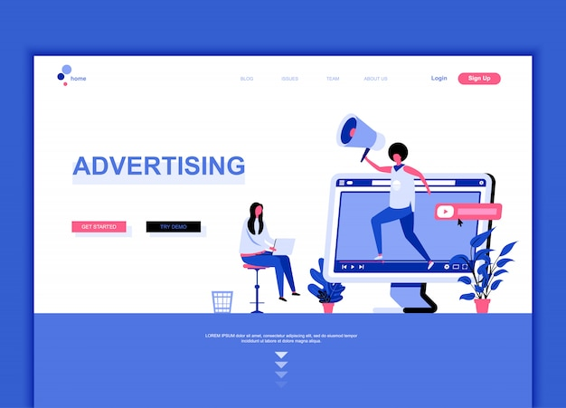 Flat landing page template of advertising