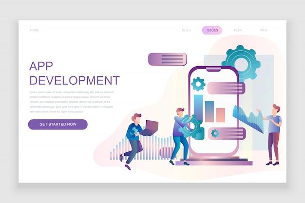 Flat landing page template of app development