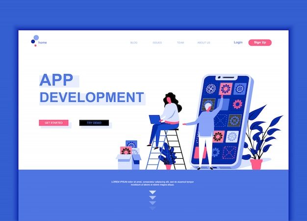 Flat landing page template of app development