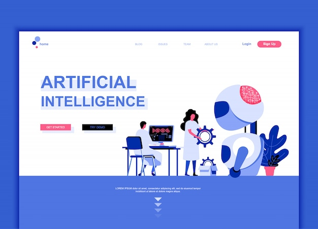 Flat landing page template of artificial intelligence