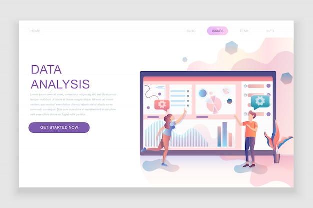 Flat landing page template of auditing, data analysis