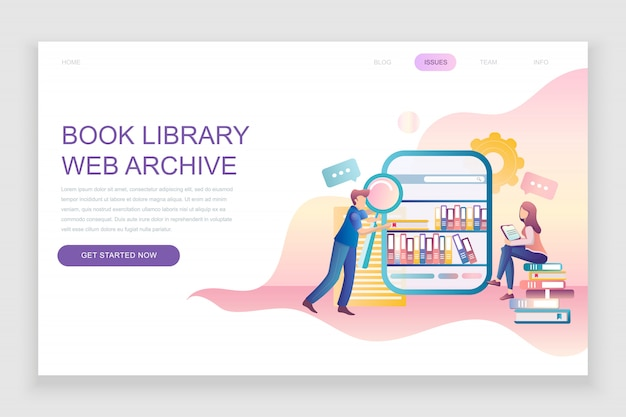 Flat landing page template of book library