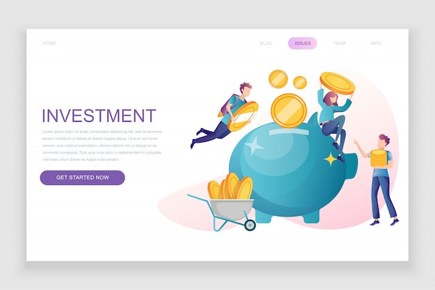 Flat landing page template of business investment