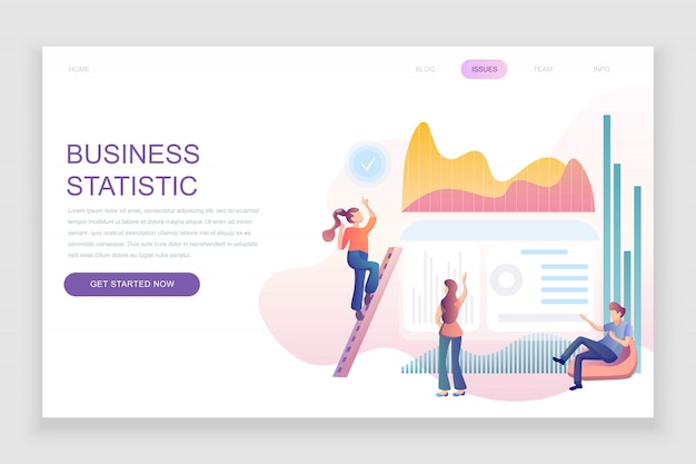 Flat landing page template of business statistic
