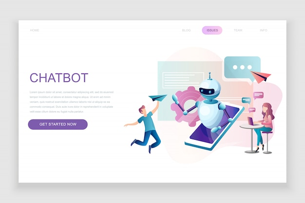 Flat landing page template of chat bot and marketing
