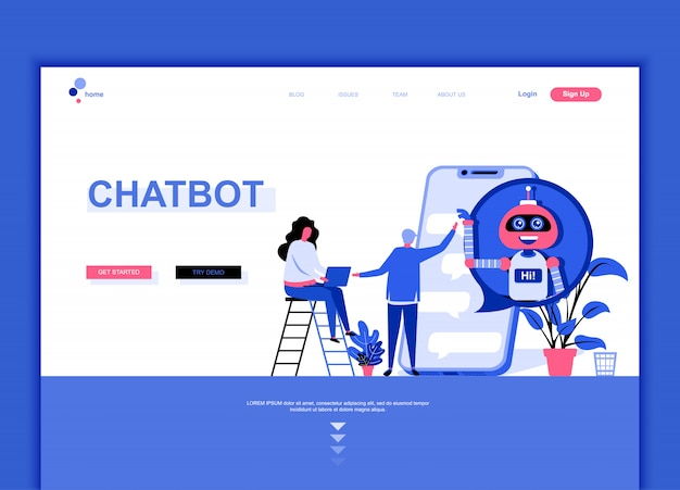 Flat landing page template of chat bot