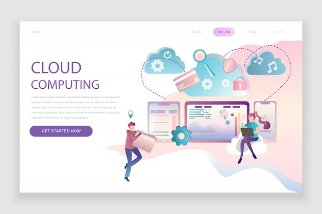 Flat landing page template of cloud technology