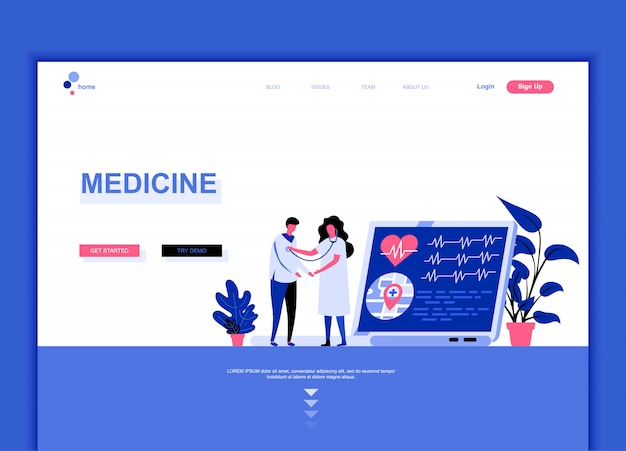 Flat landing page template concept of medicine
