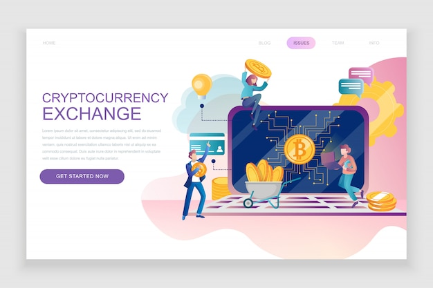 Flat landing page template of cryptocurrency exchange