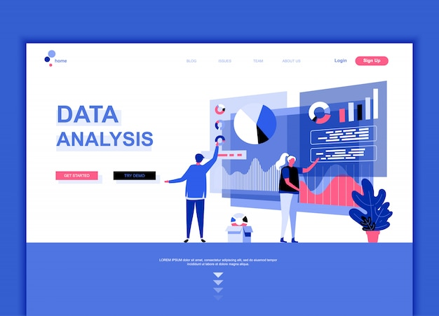Flat landing page template of data analysis