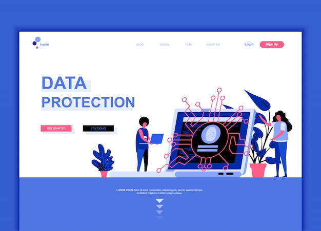 Flat landing page template of data protection