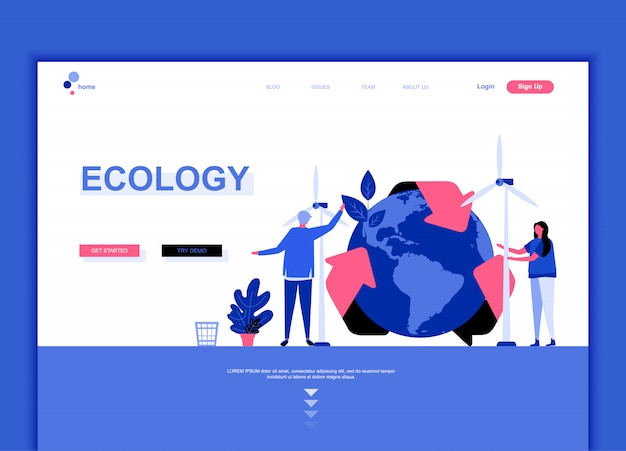 Flat landing page template of ecology earth