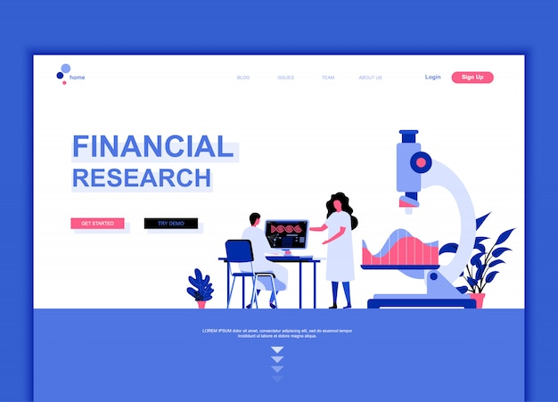 Flat landing page template of financial research